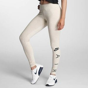 Nike Air Beige Leggings Fold Over Waistband Sz L